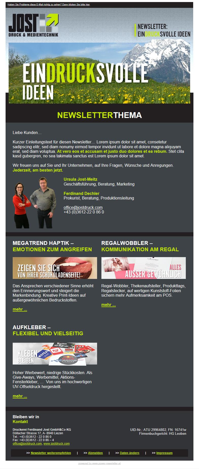 """Newsletter Marketing Graz mit Newsletter Software """"power newsletter"""""""