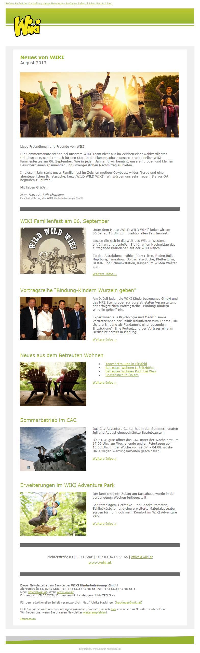 WIKI arbeitet mit Newsletter Software aus Graz