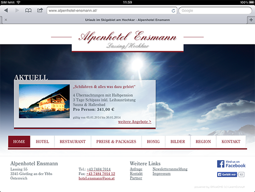 Homepage passt sich der Bildschirmauflösung des mobilen Endgeräts an