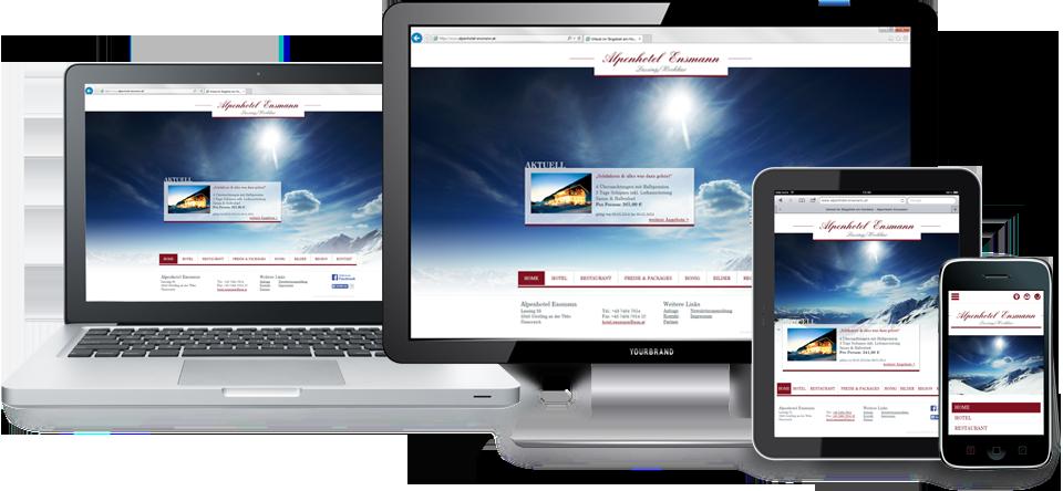 Responsive Webdesign - optimierte Homepage für Desktop, Tablet und Smartphones