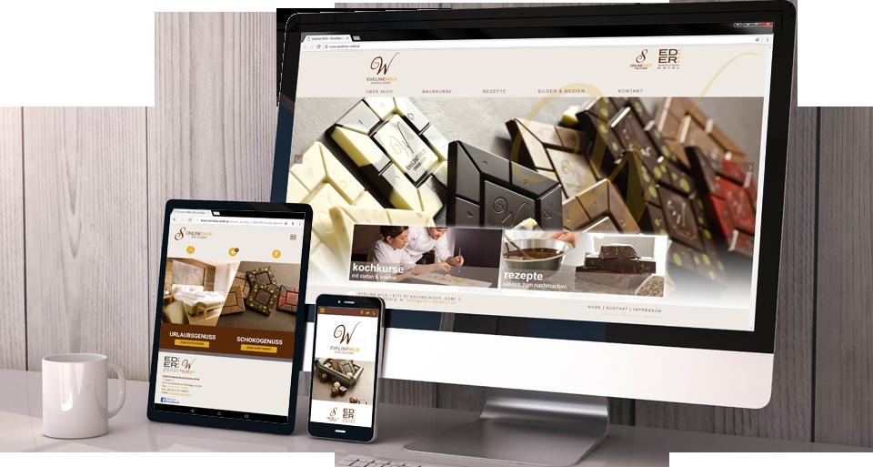 Responsive Webdesign Homepage und Shop für Eveline Wild