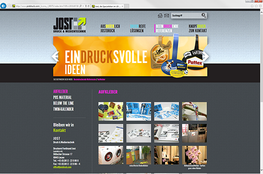 Grazer Homepage Agentur programmiert Homepage für Jostdruck