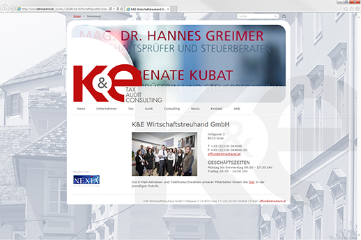 Homepage zum selbst ändern für K&E Wirtschaftstreuhand GmbH